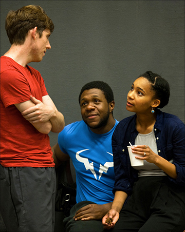 Graeme McKnight, Jonathan Livingstone and Shalisha James Davis in rehearsals for Our Country's Good. Image by Simon Annand