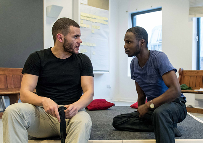Julian Moore-Cook and Fiston Barek in rehearsals for THE ROLLING STONE by Chris Urch at the Orange Tree Theatre, photo by Manuel Harlan