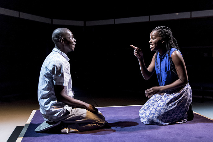 Dembe (Fiston Barek) and Naome (Faith Alabi) in The Rolling Stone by Chris Urch, The Rolling Stone by Chris Urch - Orange Tree Theatre - photo by Manuel Harlan