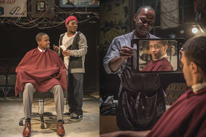 [left] - Fisayo Akinade (Samuel) and Peter Bankol (Kwabena) and [right] Cyril Nri (Emmanuel) Kwami Odoom (Ethan) in Barber Shop Chronicles at the National Theatre (c) Marc Brenner