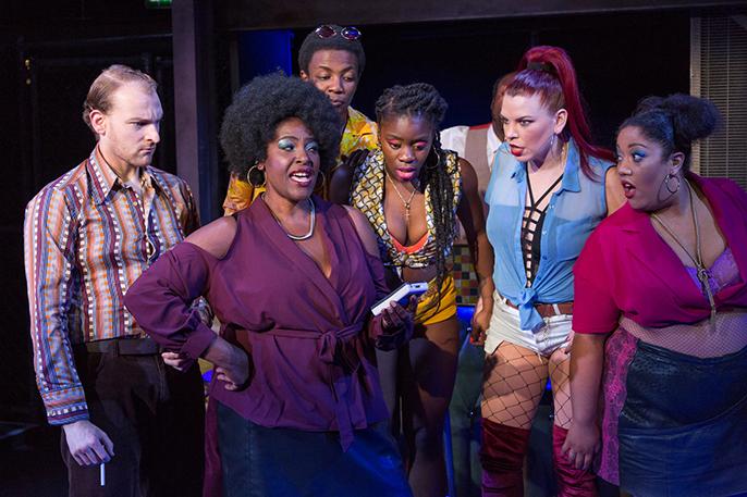 L-R Thomas-Lee Kidd (Bobby), Sharon D Clarke (Sonja) Omari Douglas (Slick), Aisha Jawando (Carmen), Lucinda Shaw (Tracy) & Jalisa Andrews