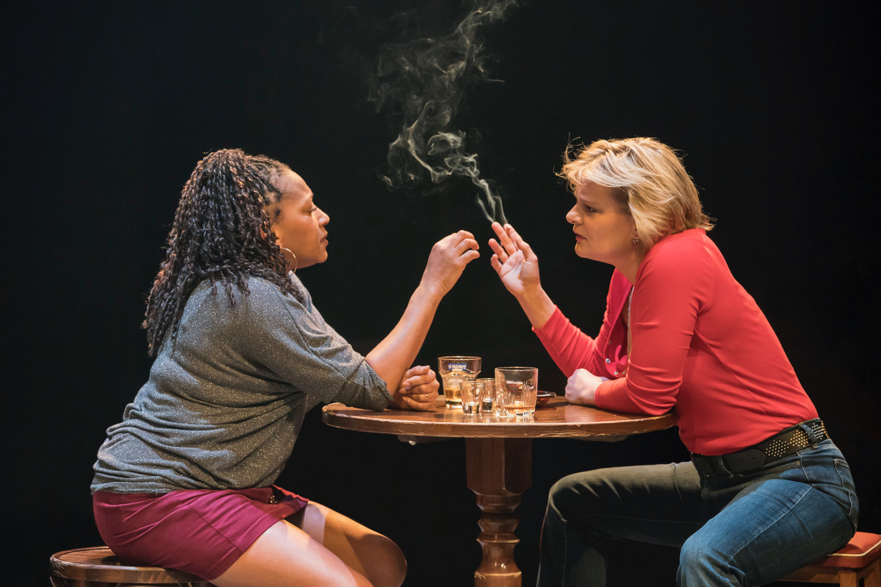 Clare Perkins (Cynthia) and Martha Plimpton (Tracey) in Sweat at the Donmar Warehouse directed by Lynette Linton, designed by Frankie Bradshaw. [Photo Johan Persson]