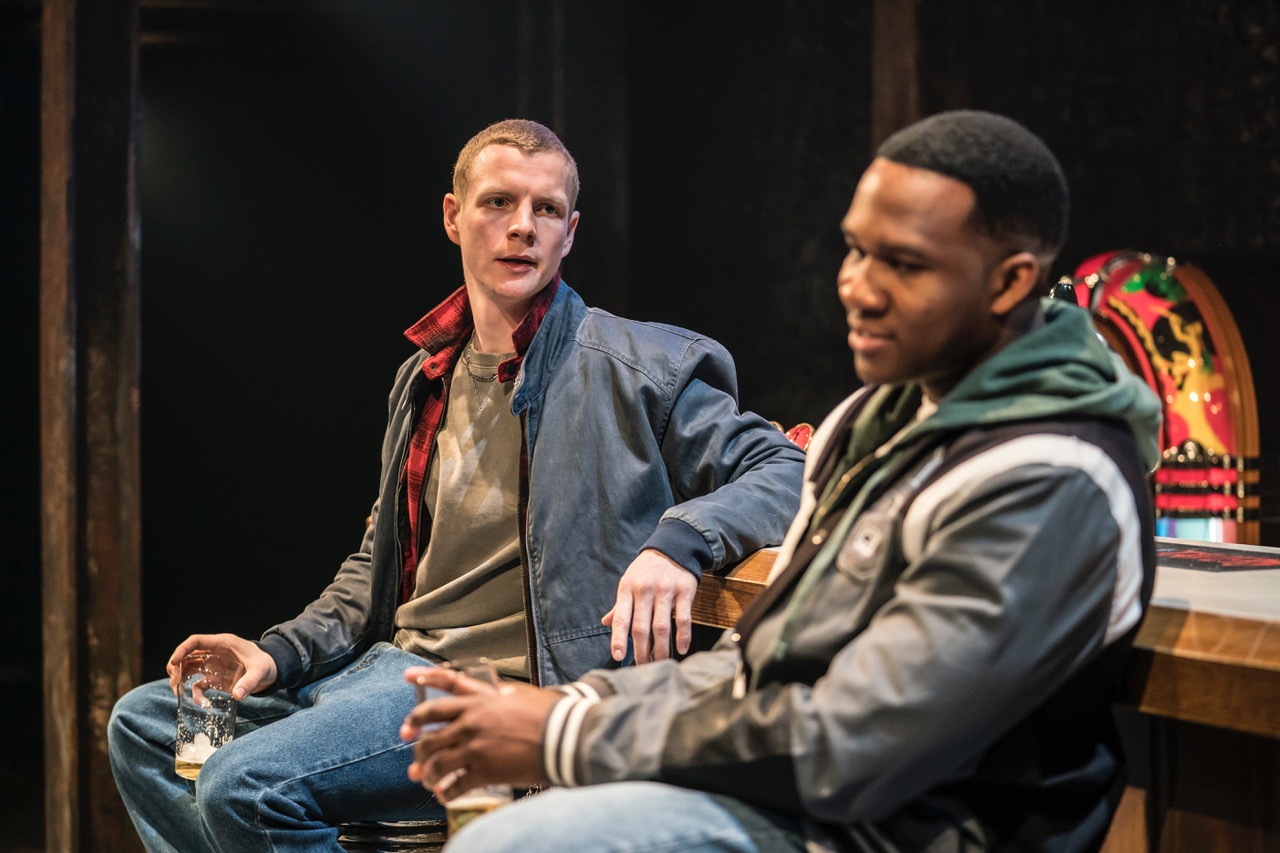 Patrick Gibson (Jason) and Osy Ikhile (Chris) in Sweat at the Donmar Warehouse directed by Lynette Linton, designed by Frankie Bradshaw. [Photo Johan Persson]