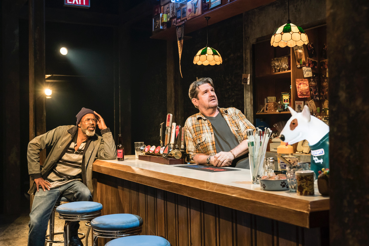 Wil Johnson (Brucie) and Stuart McQuarrie (Stan) in Sweat at the Donmar Warehouse directed by Lynette Linton, designed by Frankie Bradshaw. [Photo Johan Persson]