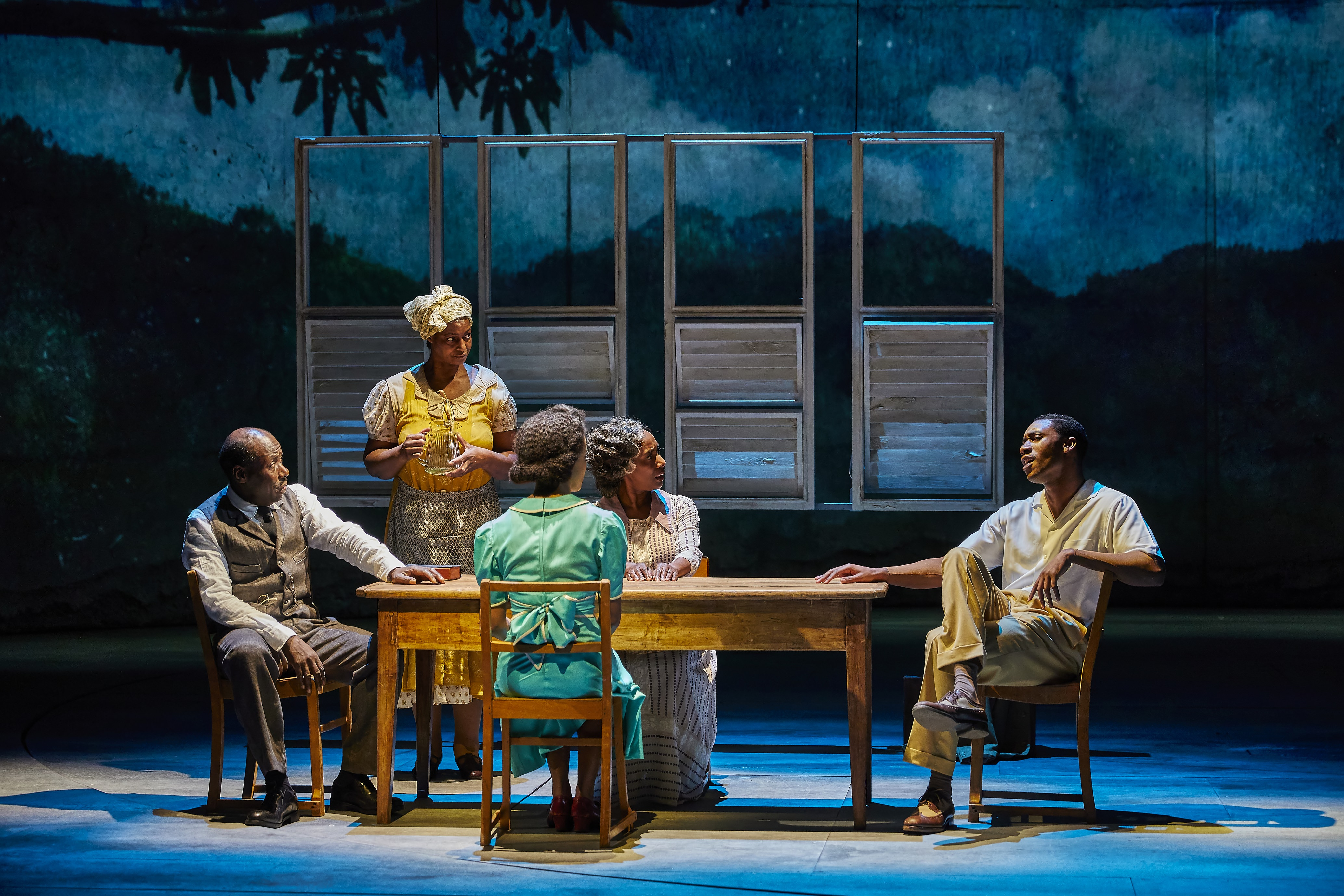 Trevor Laird, Sandra James-Young, Jacqueline Boatswain and CJ Beckford in Small Island, National Theatre - credit Brinkhoff Moegenburg