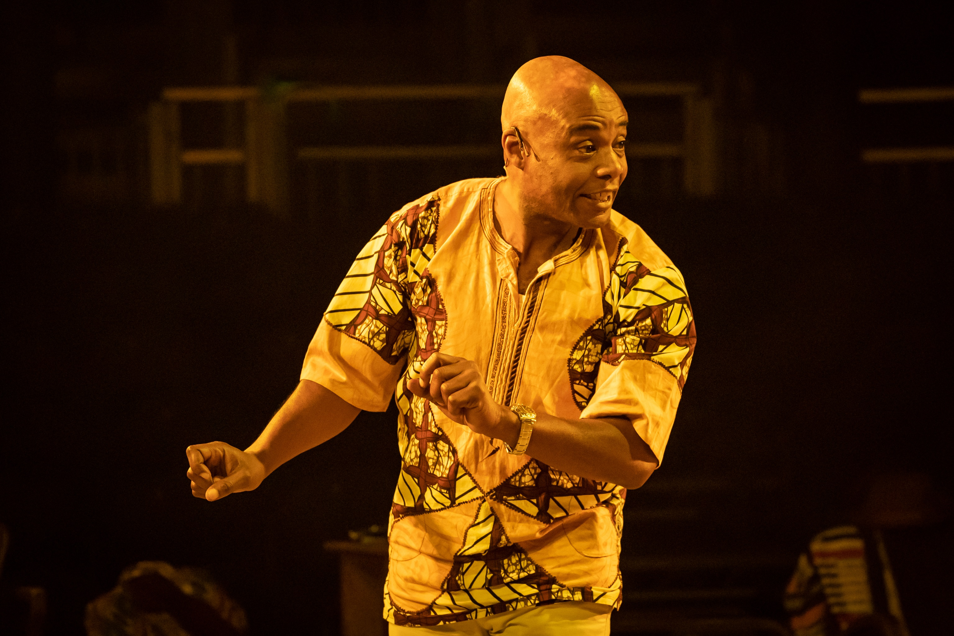 Maynard Eziashi in Barber Shop Chronicles at the Roundhouse c Marc Brenner