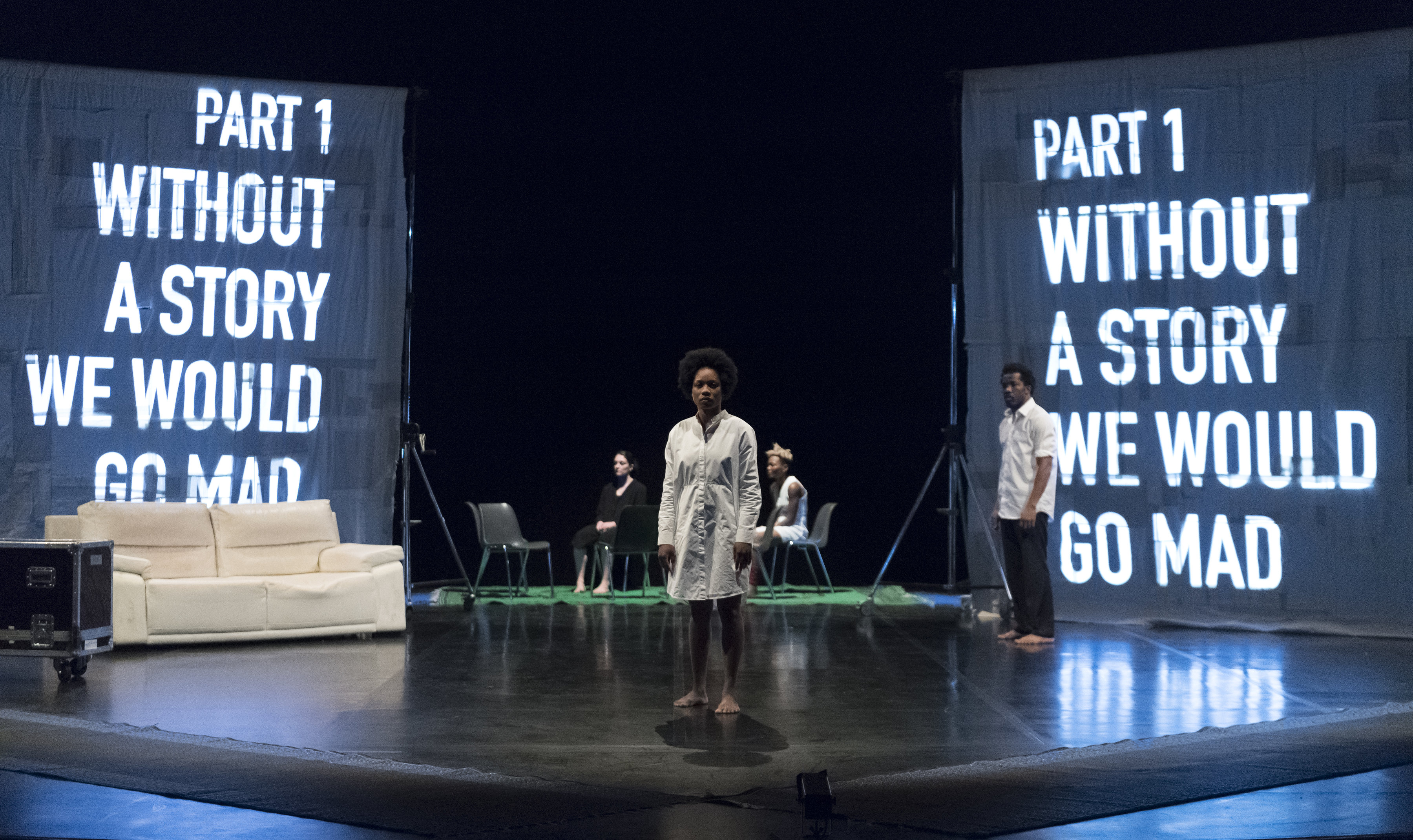 Faso Danse Théâtre & Halles de Schaerbeek/Serge Aimé Coulibaly, Kalakuta Republik; Marion Alzieu, Ida Faho, Antonia Naouele, Sayouba Sigué. Image credit: Doune Photo