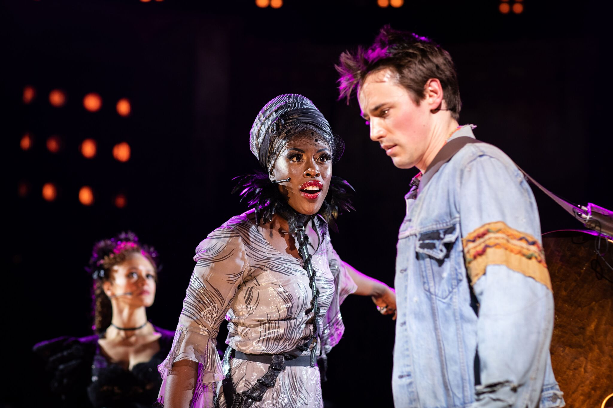 Amber Gray (Persephone), Glori a Onitiri (Fate) in Hadestown at National Theatre (c) Helen Maybanks
