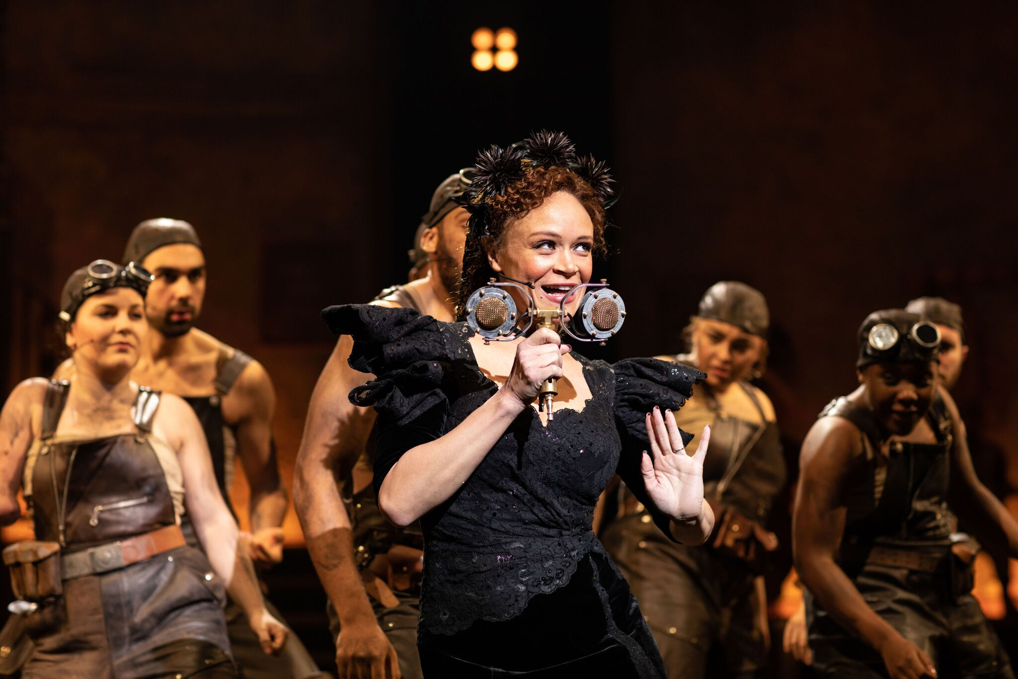 Amber Gray (Persephone) and the company of Hadestown in Hadestown at National Theatre (c) Helen Maybanks