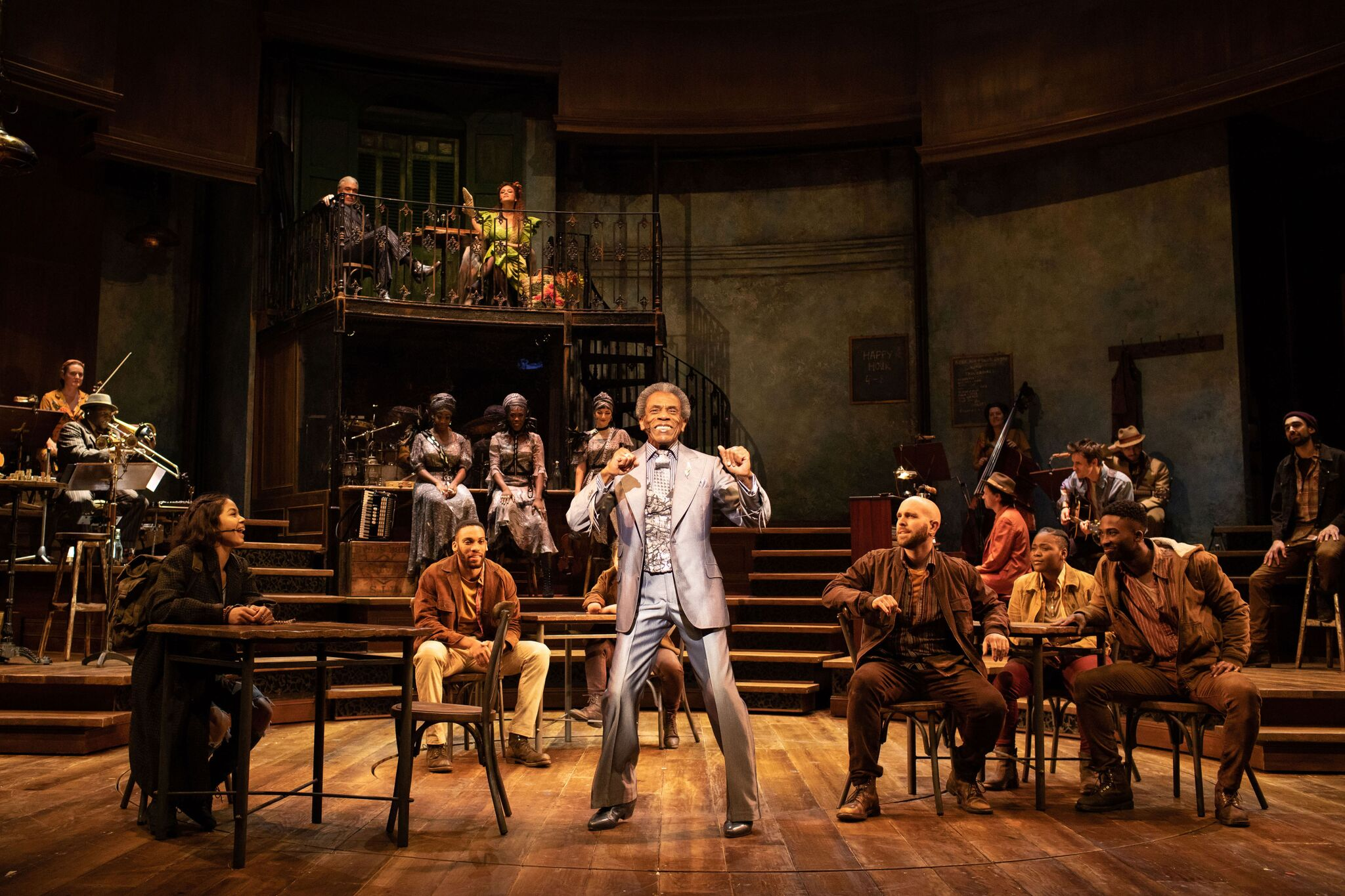 Hadestown André De Shields (Hermes) and the company of Hadestown at National Theatre (c) Helen Maybanks
