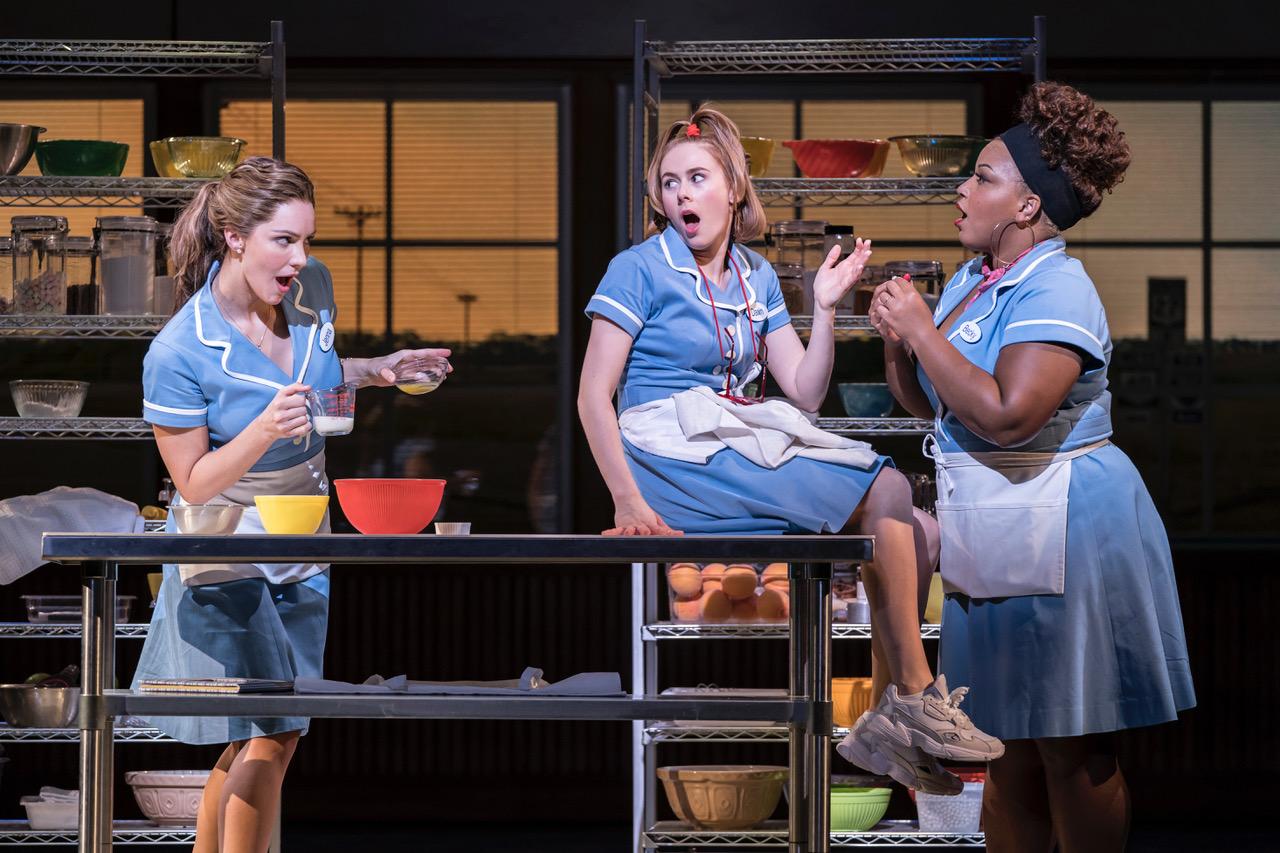 Waitress Adelphi Theatre - Katharine McPhee (Jenna), Laura Baldwin (Dawn) and Marisha Wallace (Becky) [Photographer Johan Persson]