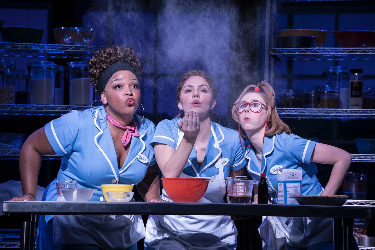 Waitress Adelphi Theatre, Marisha Wallace (Becky), Katharine McPhee (Jenna), Laura Baldwin (Dawn) [Photographer Johan Persson]
