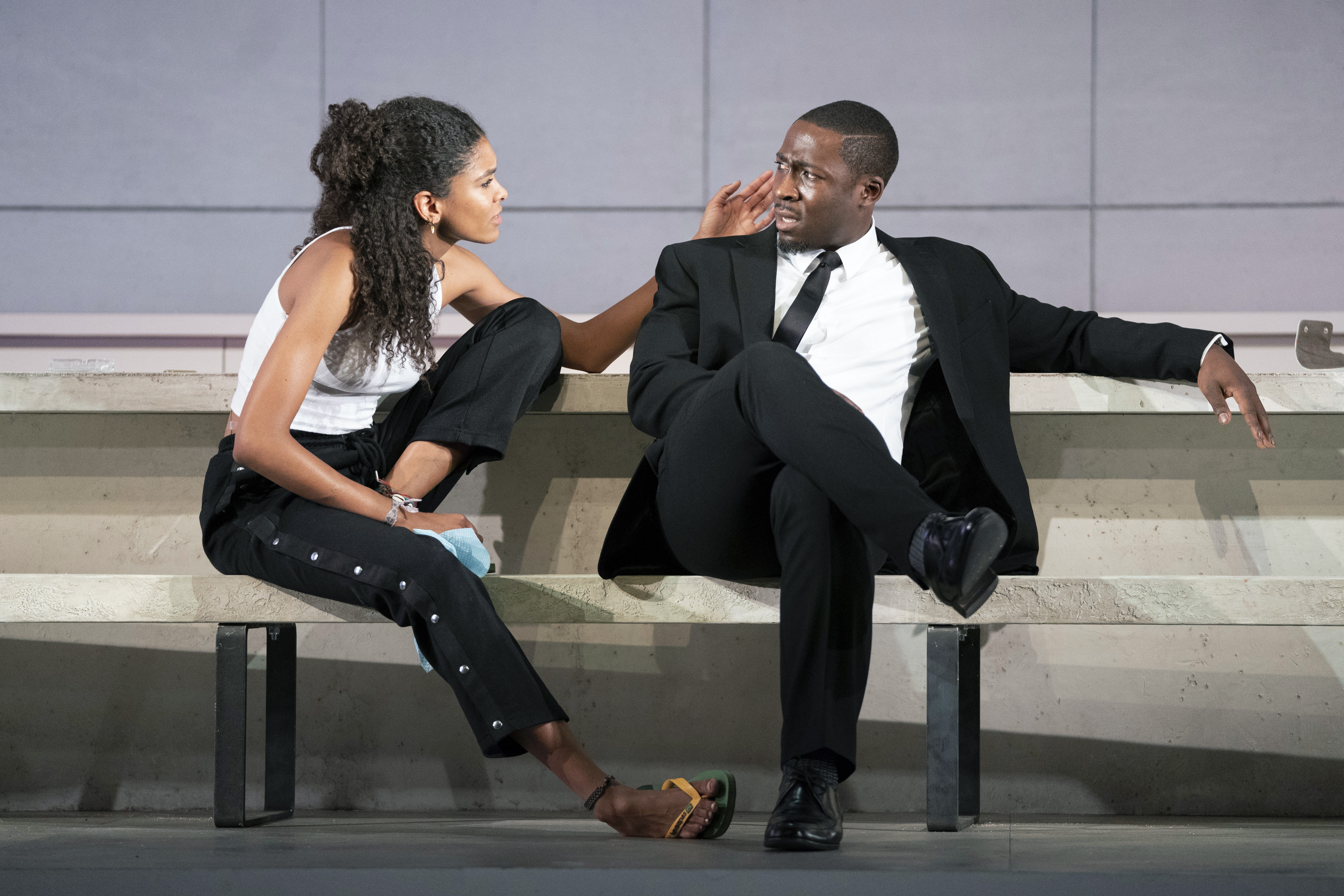 Eric Kofi Abrefa as Jean and Thalissa Teixeira as Kristina in Julie at the National Theatre (c) Richard H Smith
