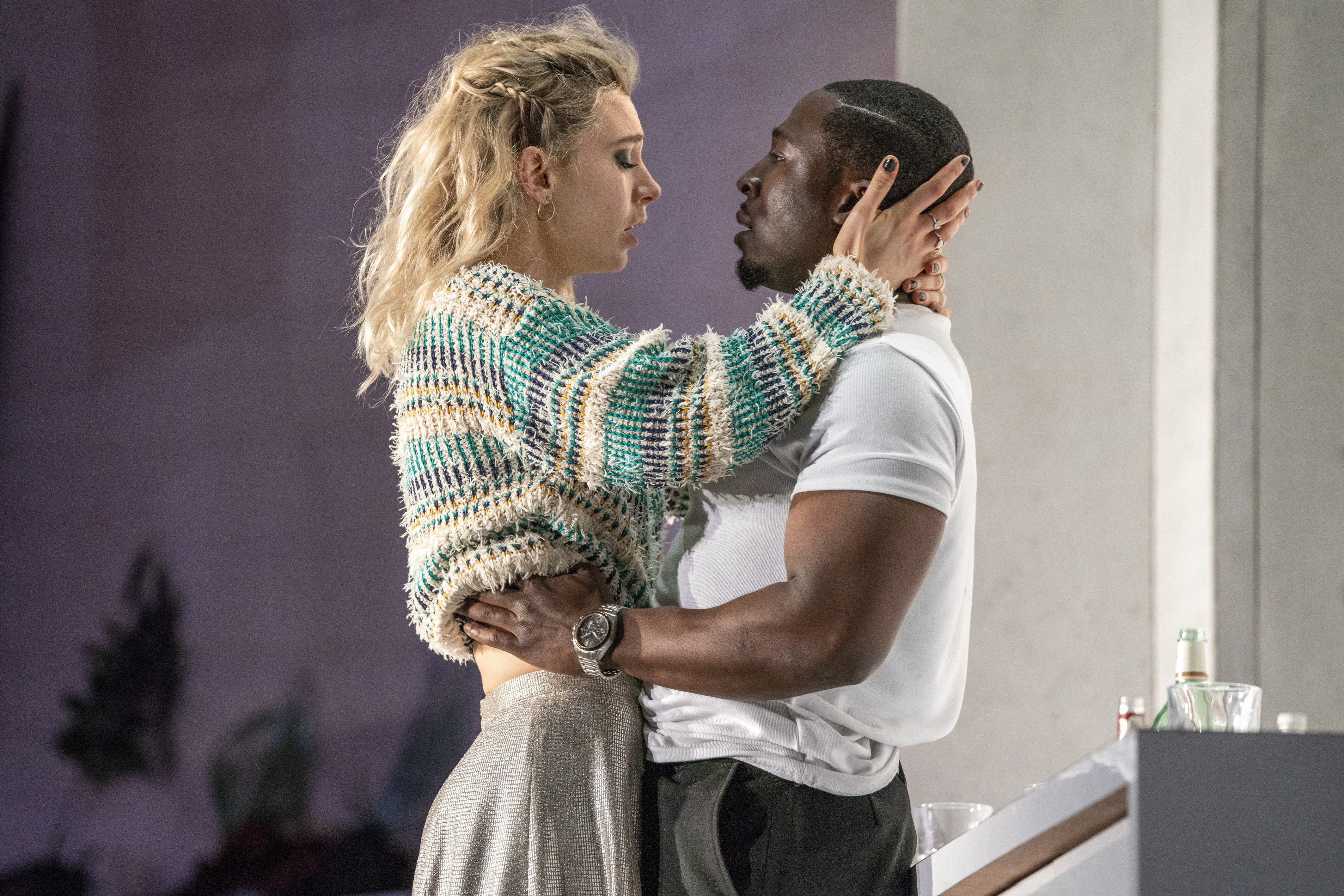 Vanessa Kirby as Julie and Eric Kofi Abrefa as Jean in Julie at the National Theatre (c) Richard H Smith