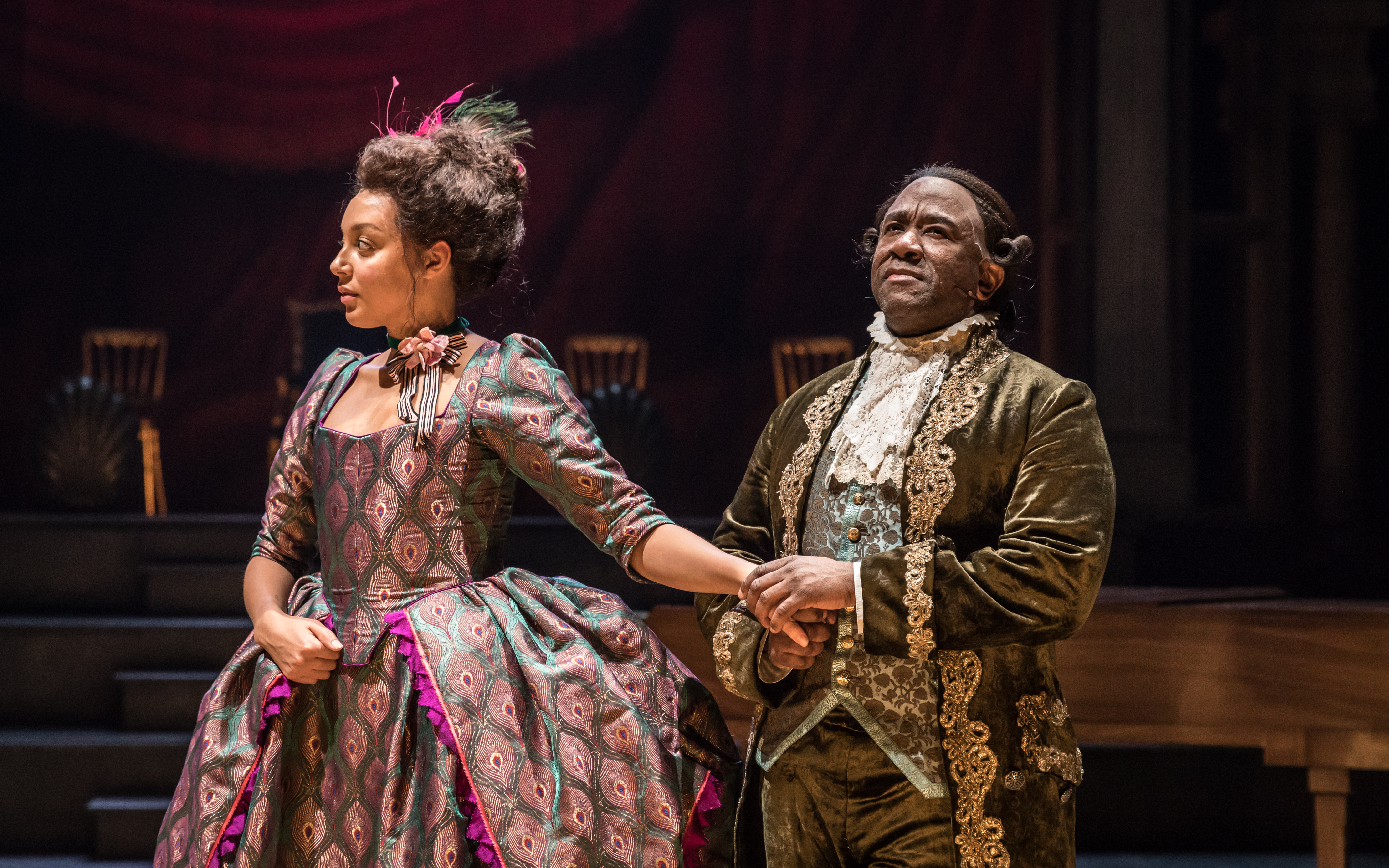 Adelle Leonce as Constanze Weber and Lucian Msamati as Antonio Salieri in Amadeus at the National Theatre (c) Marc Brenner