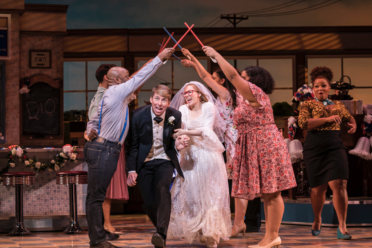 Waitress Adelphi Theatre - Jack McBrayer (Ogie) and Laura Baldwin (Dawn) [Photographer Johan Persson]
