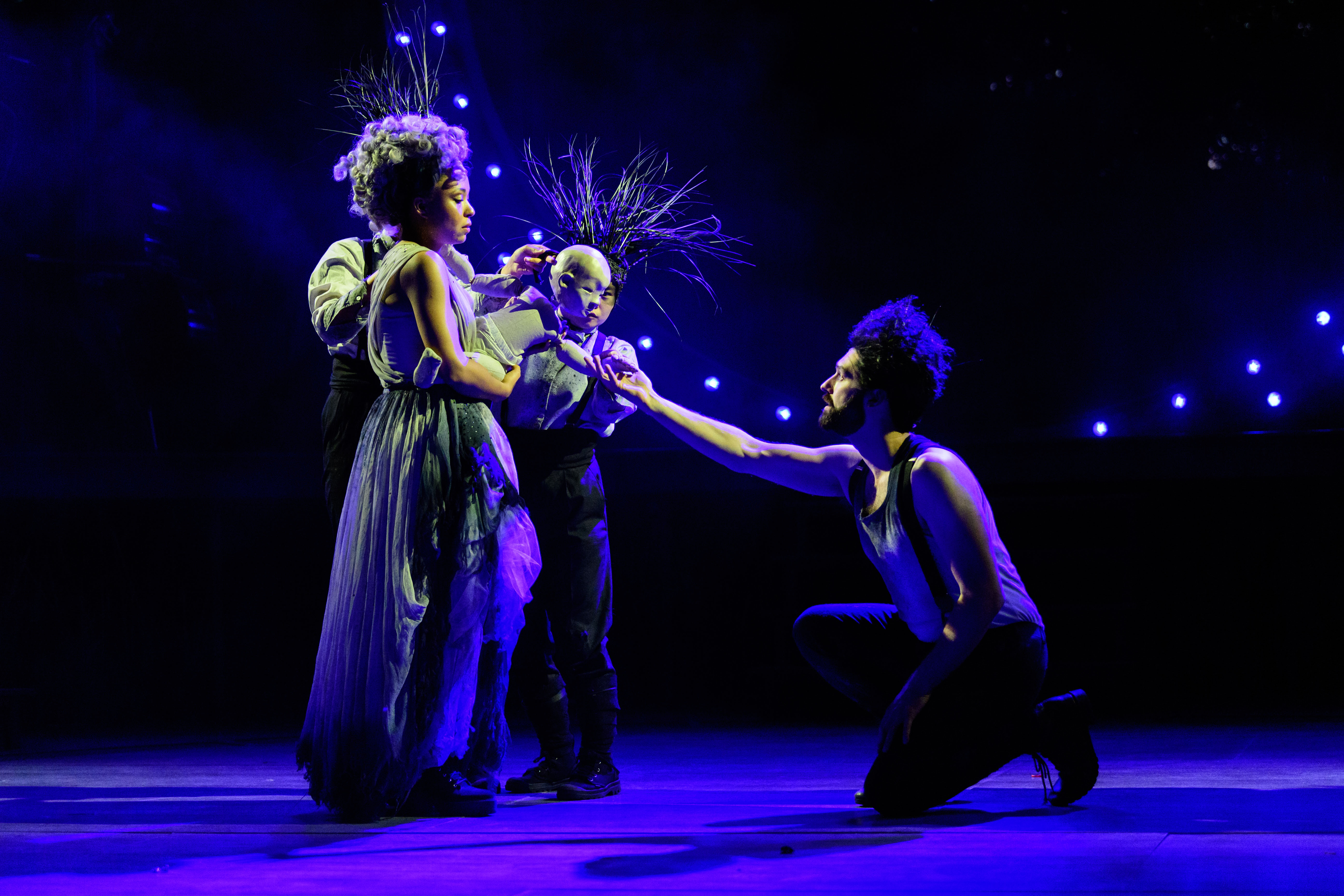 Amber James and Kieran Hill as Titania and Oberon in A Midsummer Night's Dream at the Open Air Theatre. Photo Jane Hobson