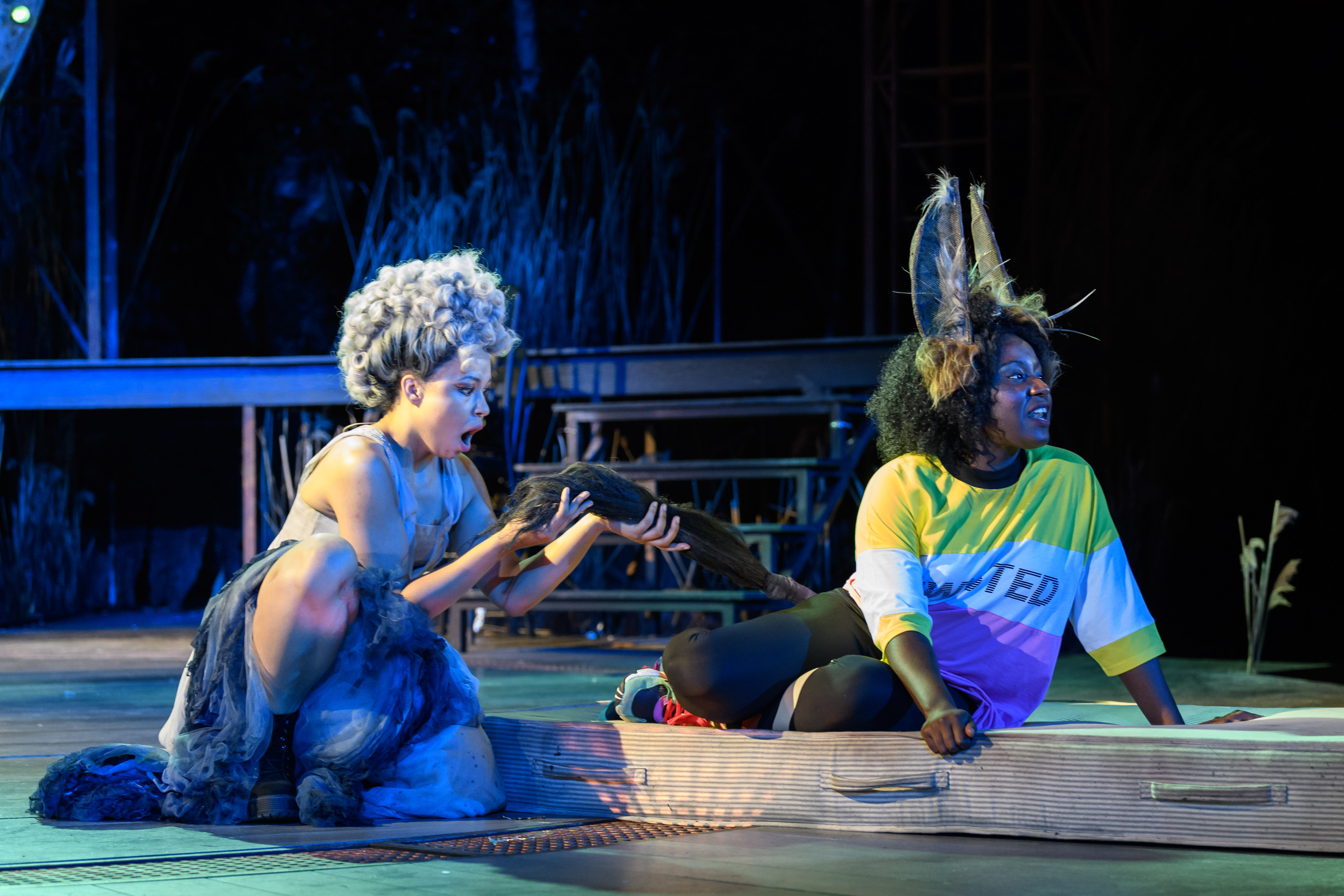 Amber James and Susan Wokoma as Titania and Bottom in A Midsummer Night's Dream at the Open Air Theatre. Photo Jane Hobson