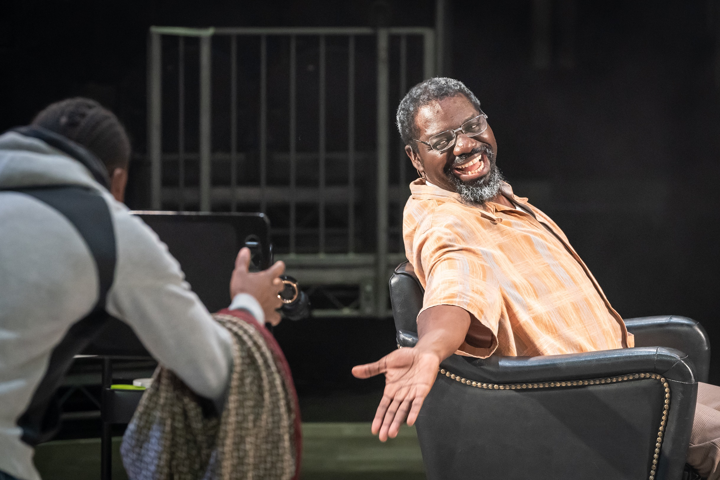 David Webber in Barber Shop Chronicles at the Roundhouse - Photo: Marc Brenner