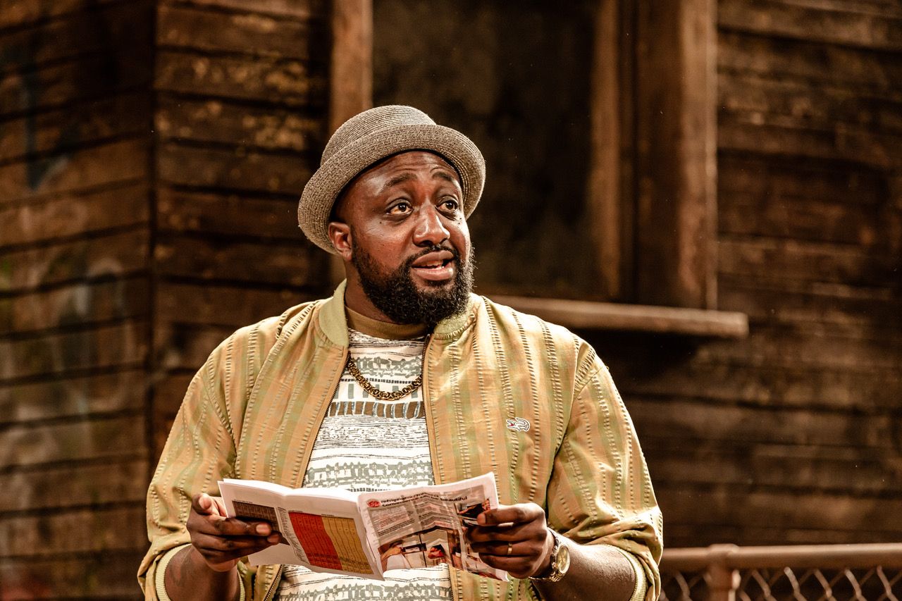 Dexter Flanders (Mister) in King Hedley II at Theatre Royal Stratford East. Photo by Richard Davenport
