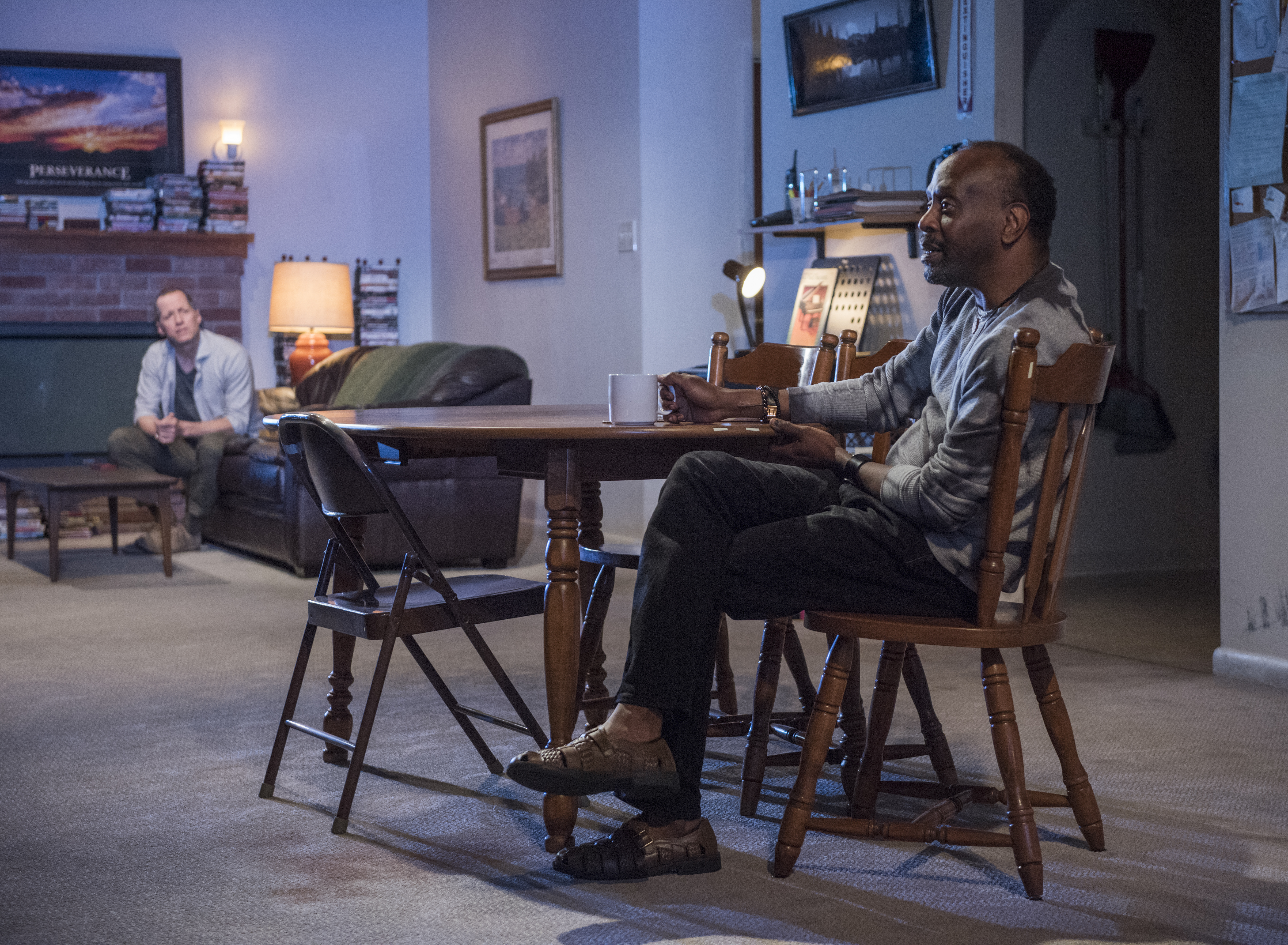 Pictured (L to R) ensemble members Tim Hopper (Andy) and K. Todd Freeman (Dee) in Steppenwolf's world premiere production of Downstate by ensemble member Bruce Norris, directed by Pam MacKinnon. Photo by Michael Brosilow.