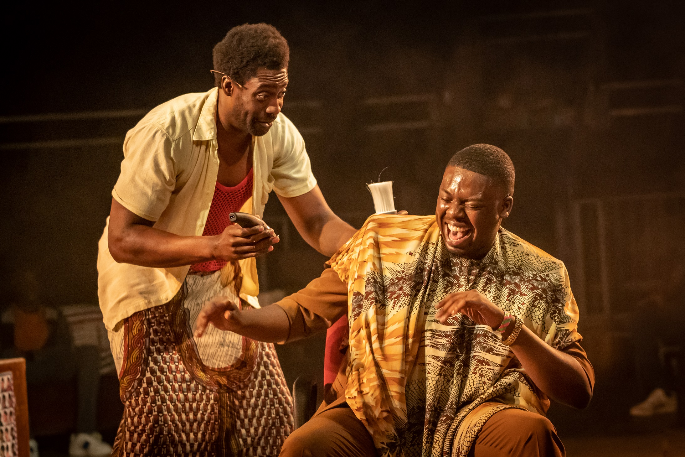 Emmanuel Ighodaro and Demmy Ladipo in Barber Shop Chronicles at the Roundhouse - Photo: Marc Brenner