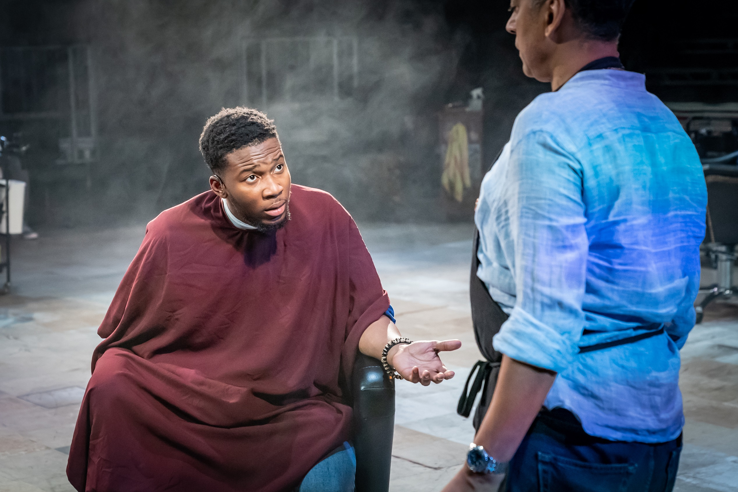Eric Shango and Anthony Ofoegbu in Barber Shop Chronicles at the Roundhouse - Photo: Marc Brenner