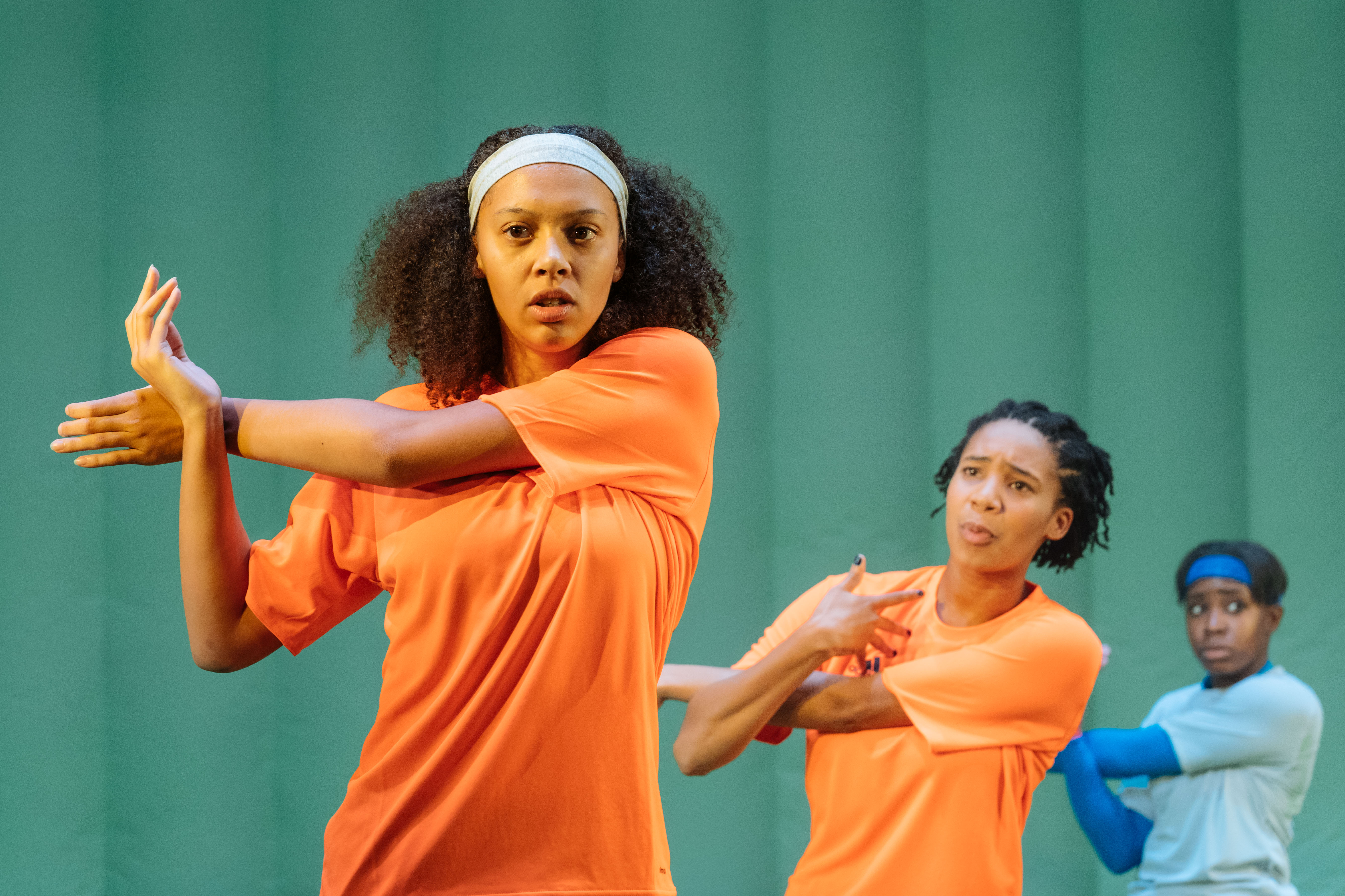 Francesca Henry (#2) in The Wolves at Theatre Royal Stratford East. [Photos by Manuel Harlan]