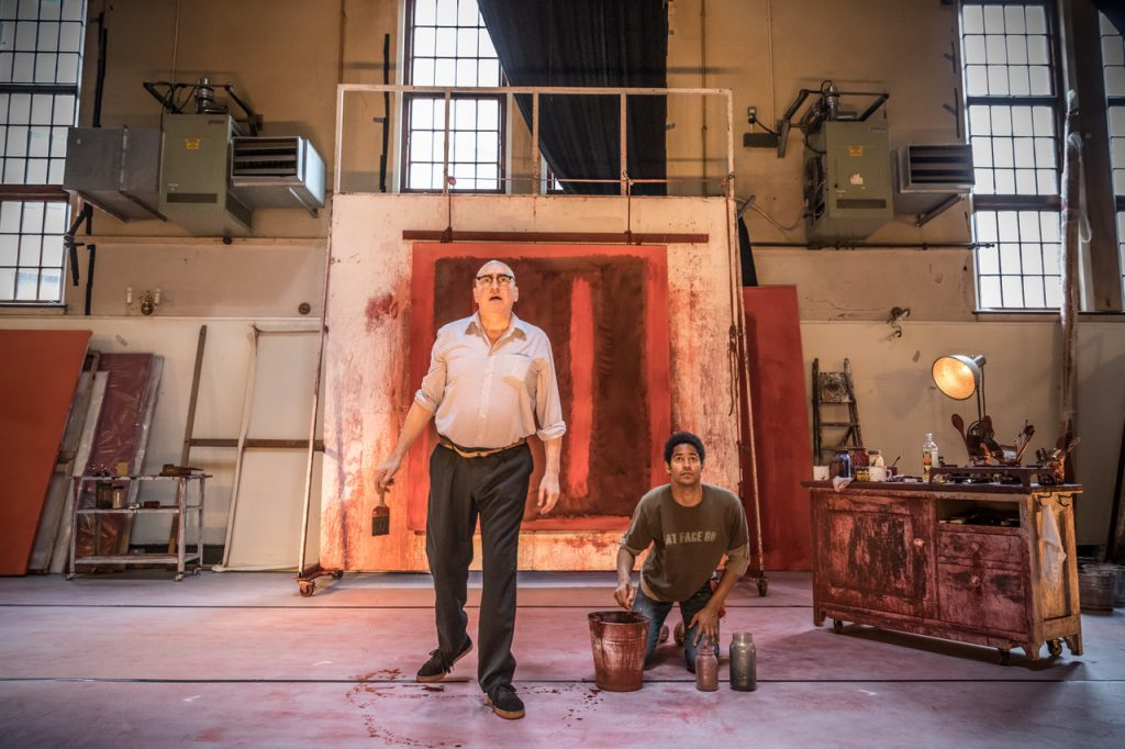 John Logan's Red in rehearsals for Michael Grandage Company. Alfred Molina (Mark Rothko) and Alfred Enoch (Ken) Photo credit Marc Brenner