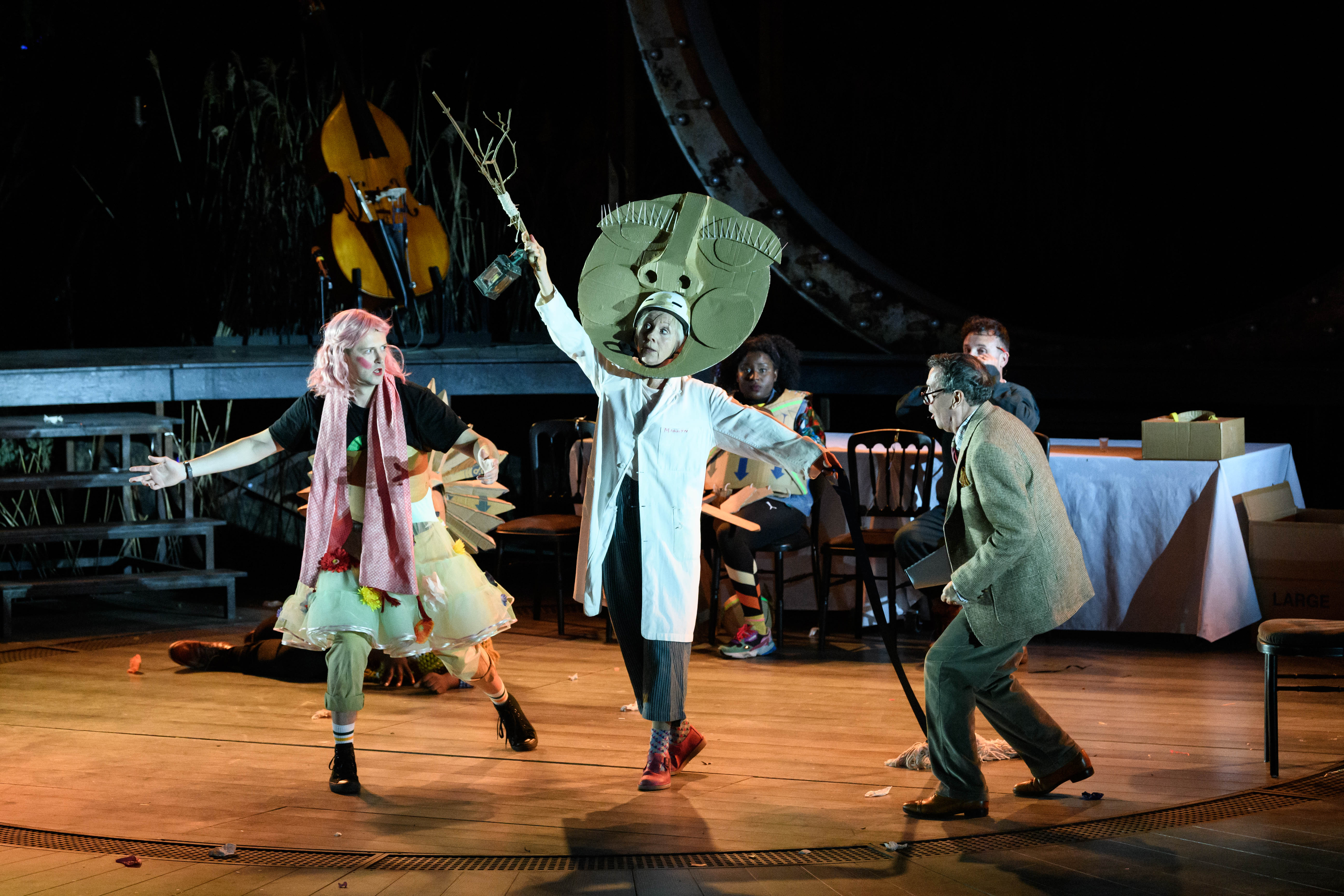 Joshua Miles, Liz Crowther, Susan Wokoma, Gareth Snook and Lee Mengo as Flute, Starveling, Bottom, Quince and Snout in A Midsummer Night's Dream at the Open Air Theatre. Photo Jane Hobson
