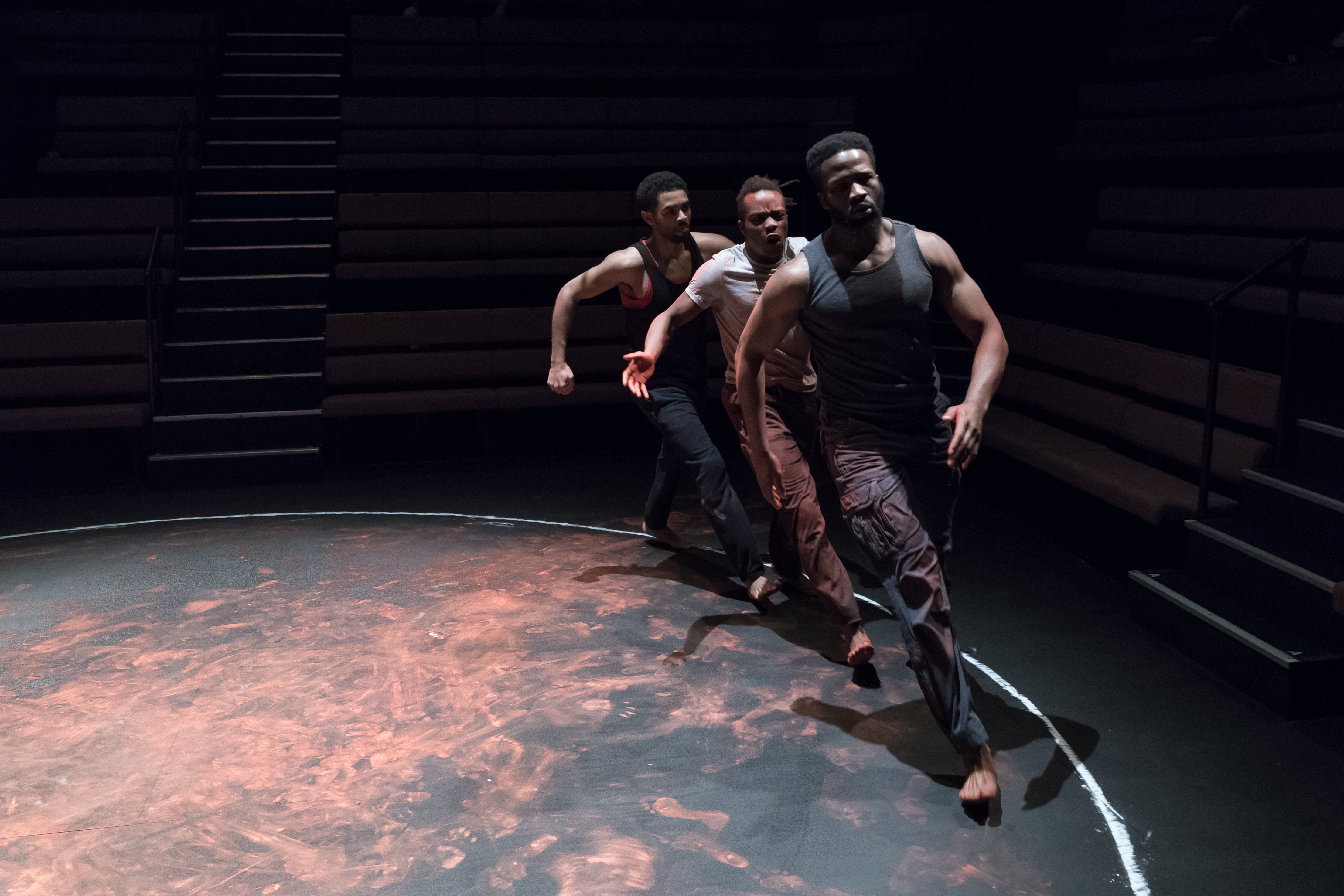 (L to R) Anthony Welsh (Elegba), Jonathan Ajayi (Oshoosi) and Sope Dirisu (Ogun) in The Brothers Size at the Young Vic ©Marc Brenner
