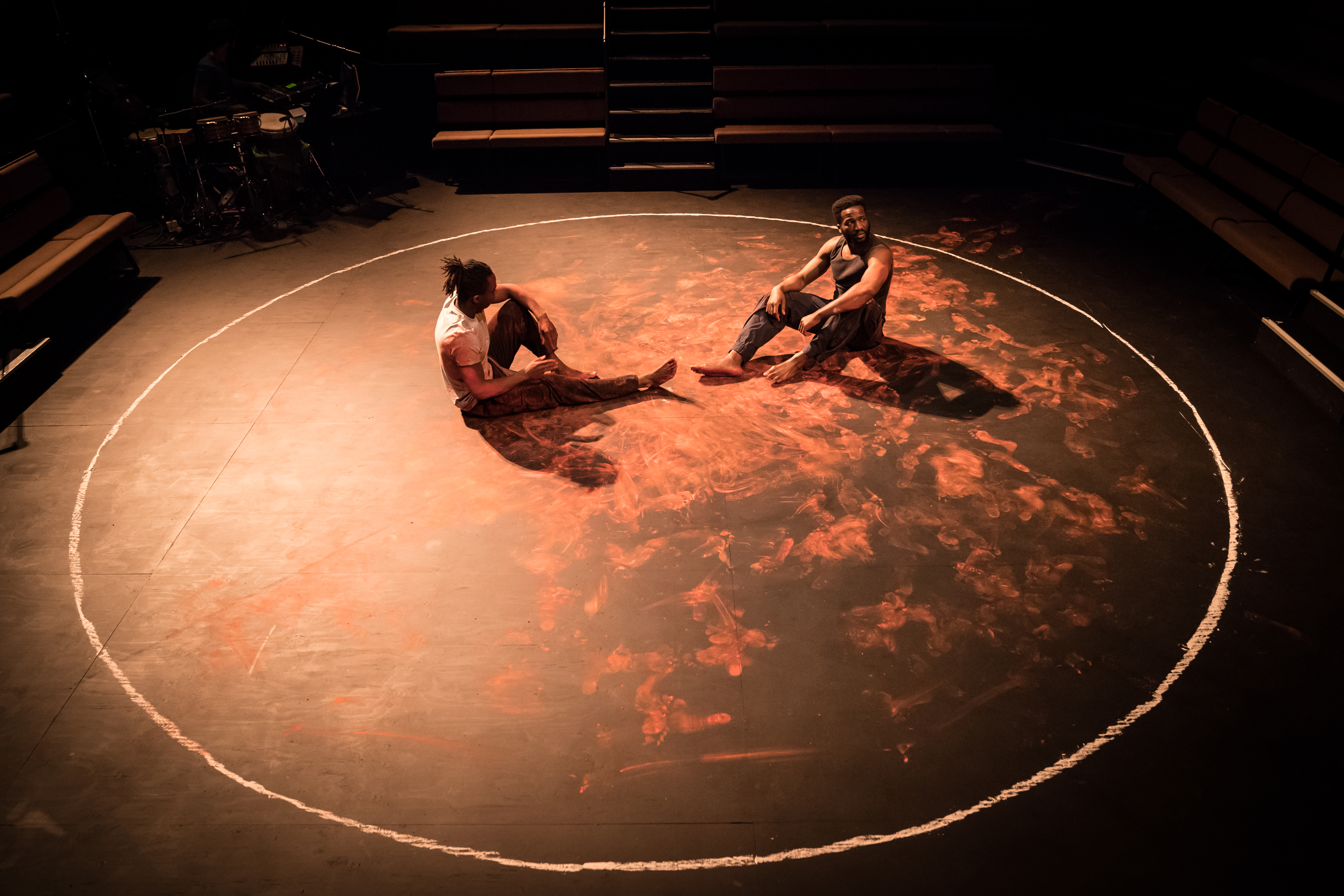L to R) Jonathan Ajayi (Oshoosi) and Sope Dirisu (Ogun) in The Brothers Size at the Young Vic ©Marc Brenner