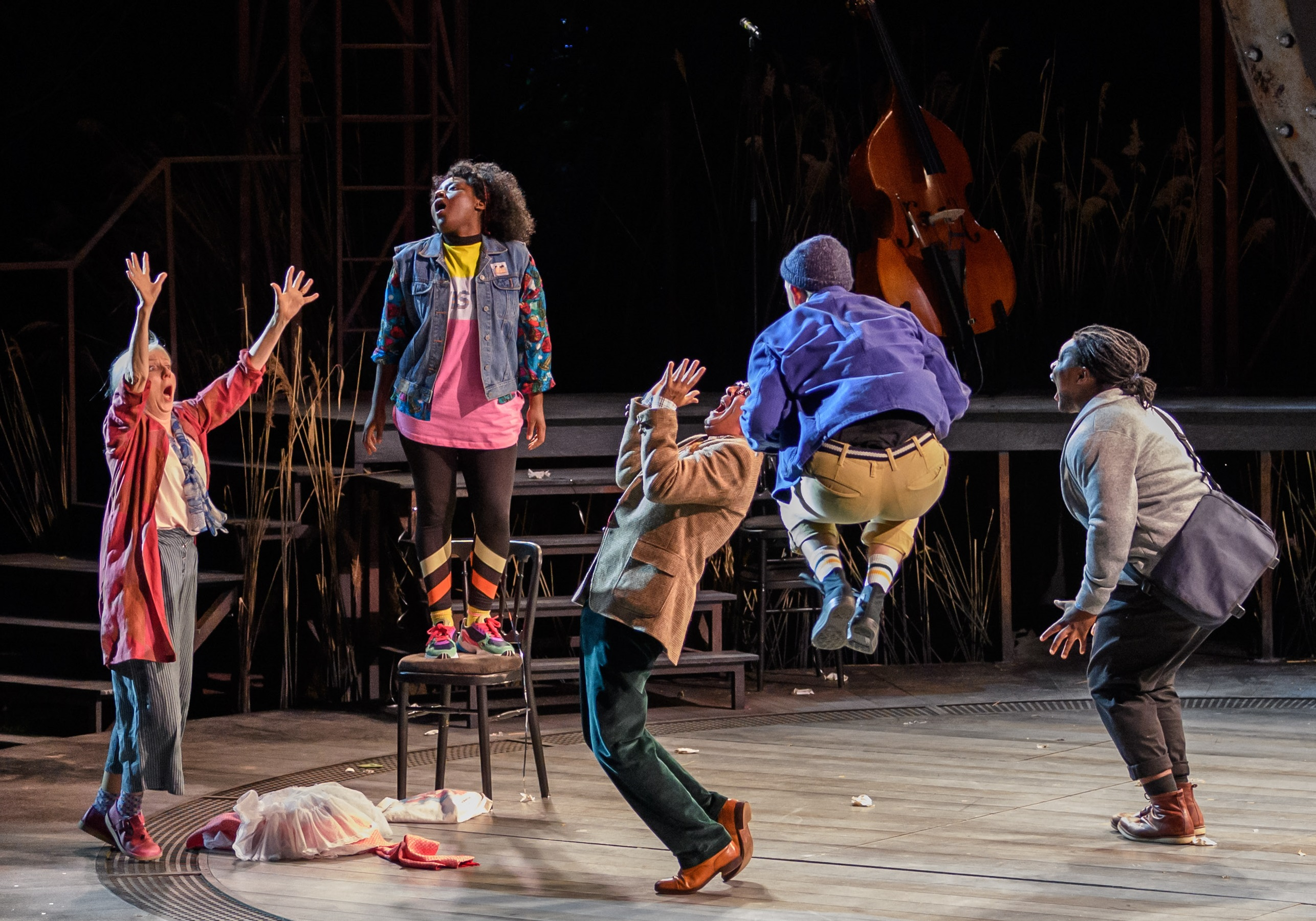 Liz Crowther, Susan Wokoma, Gareth Snook, Joshua Miles and Tomi Ogbaro as Starveling, Bottom, Quince, Flute and Snug in A Midsummer Night's Dream at the Open Air Theatre. Photo Jane Hobson