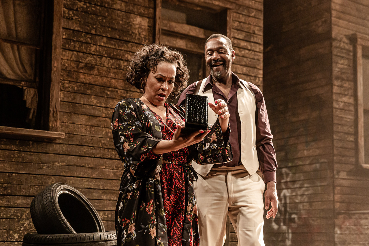 Martina Laird (Ruby) and Lenny Henry (Elmore) in King Hedley II at Theatre Royal Stratford East. Photo by Richard Davenport
