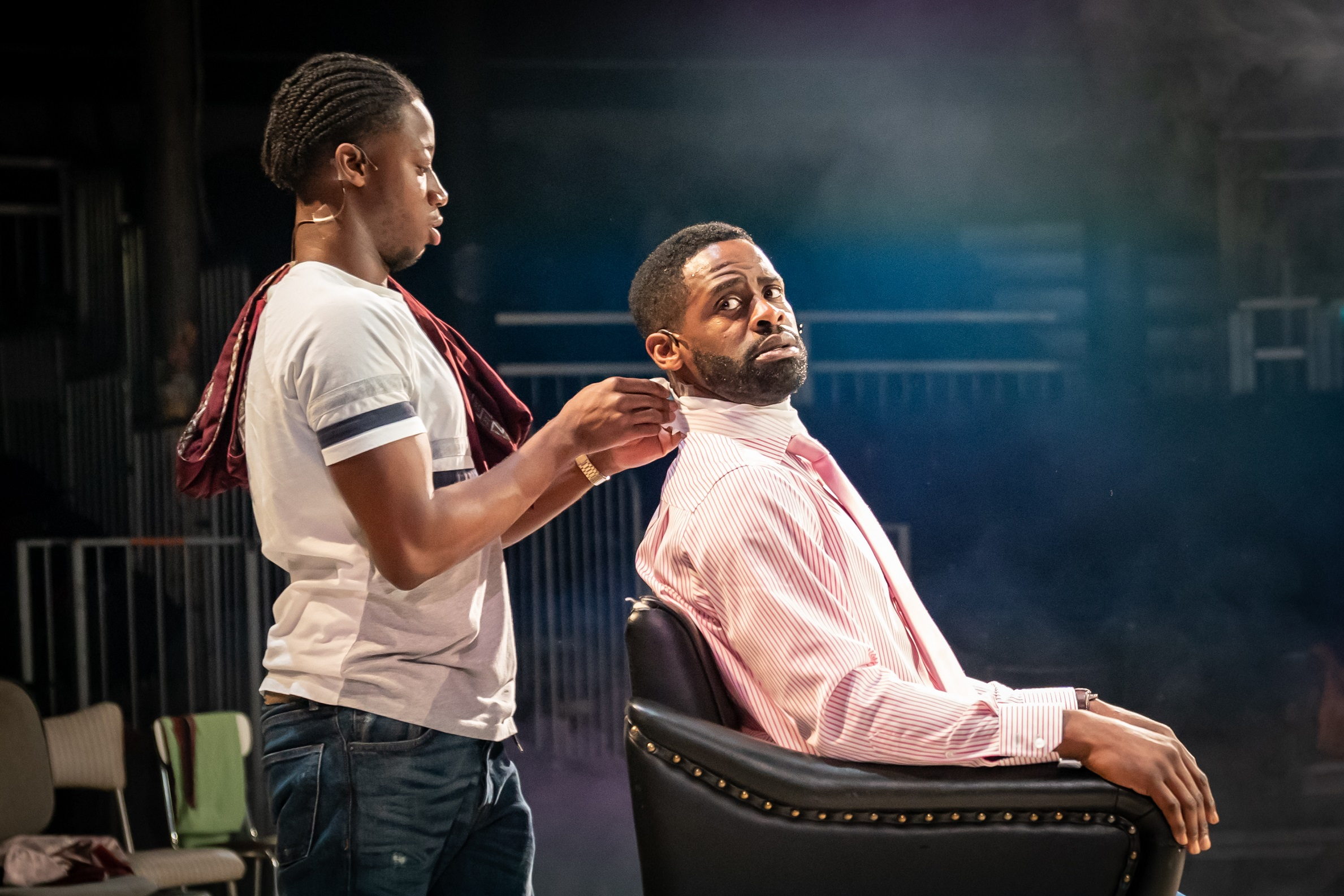 Mohammed Mansaray and Okorie Chukwu in Barber-Shop Chronicles at the Roundhouse - c Marc Brenner