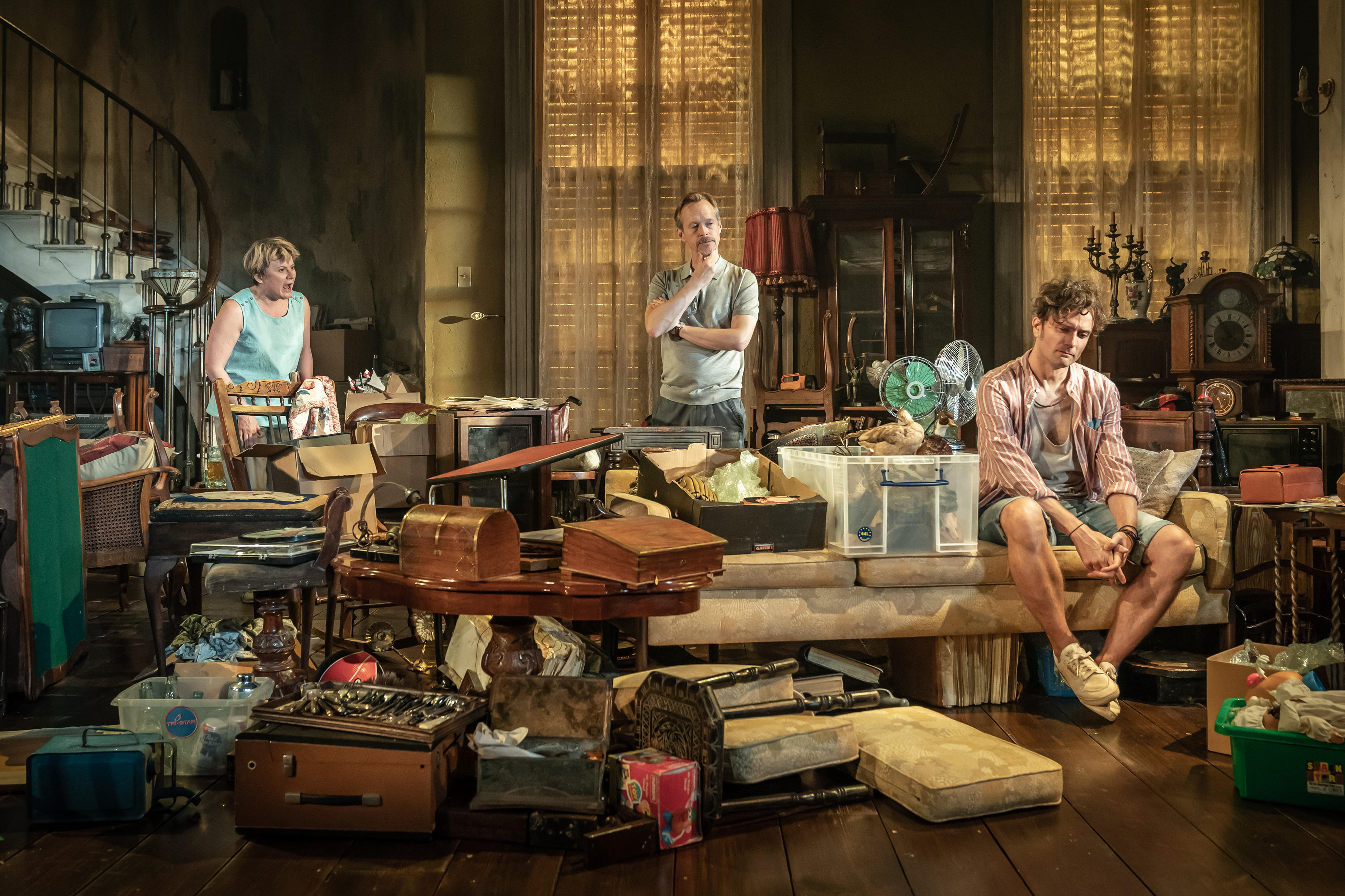 Monica Dolan, Steven Mackintosh and Edward Hogg in Appropriate at the Donmar Warehouse. Director Ola Ince, Designer Fly Davis. Photo Marc Brenner