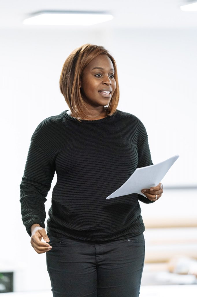 Petra Letang in rehearsal for random at Chichester Festival Theatre Photo Manuel Harlan