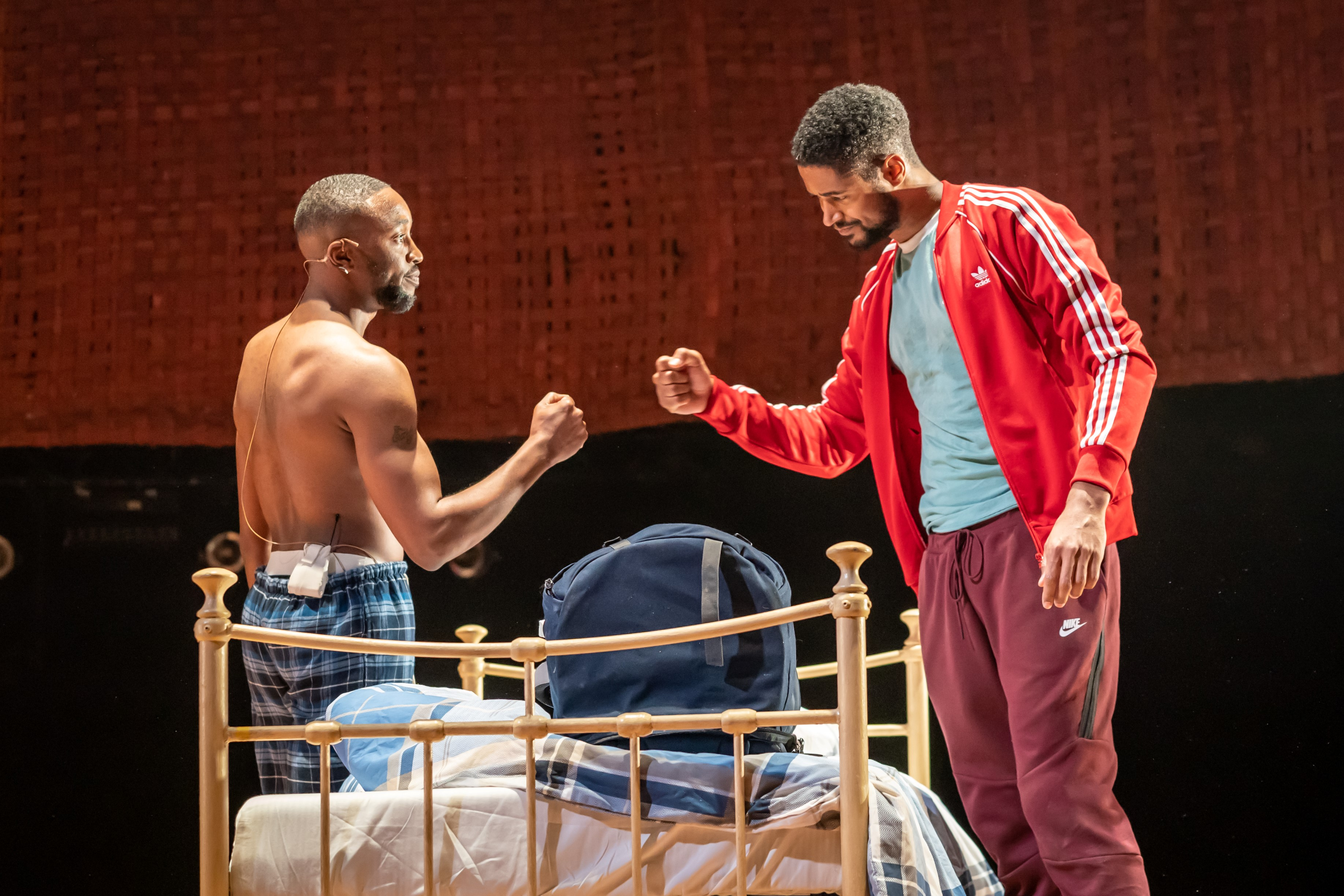 Stefan Sinclair and Alfred Enoch in Tree at Manchester International Festival runs at Young Vic from 29 July. Credit Marc Brenner