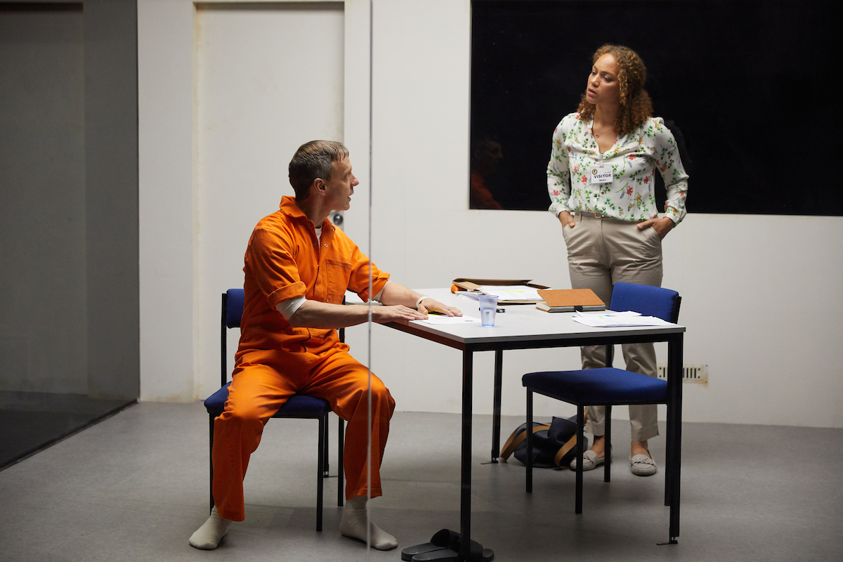 Trevor White and Angela Griffin in Building The Wall at the Park Theatre. Photo by Mark Douet
