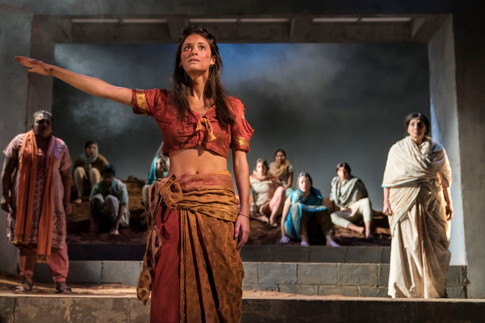 Anya Chalotra (Jyoti) and The Company of The Village Theatre Royal Stratford East [Photo credits Johan Persson]