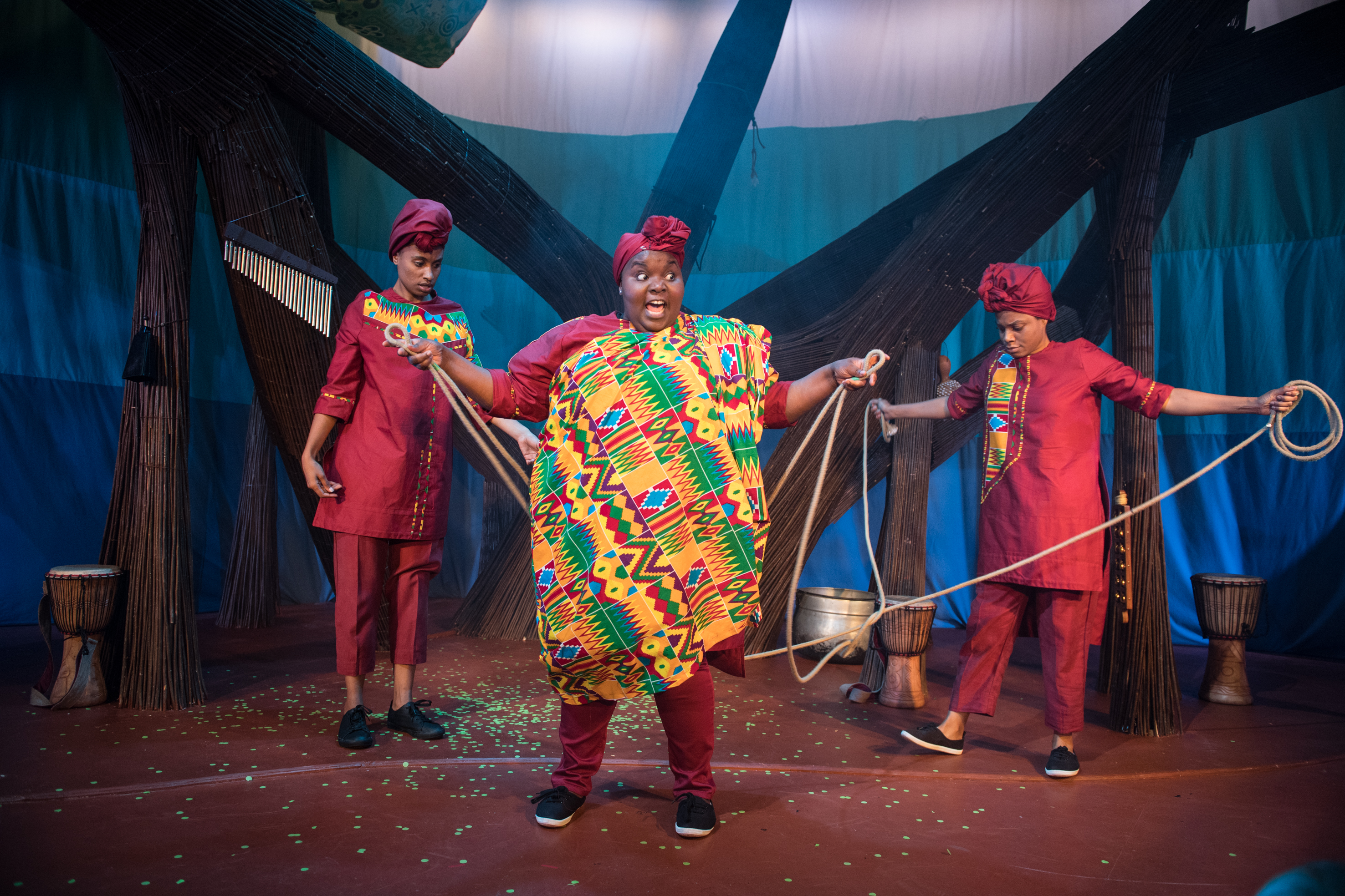 Afia Abusham, Juliet Okotie and Sapphire Joy in Anansi the Spider at the Unicorn Theatre. Photo Craig Sugden