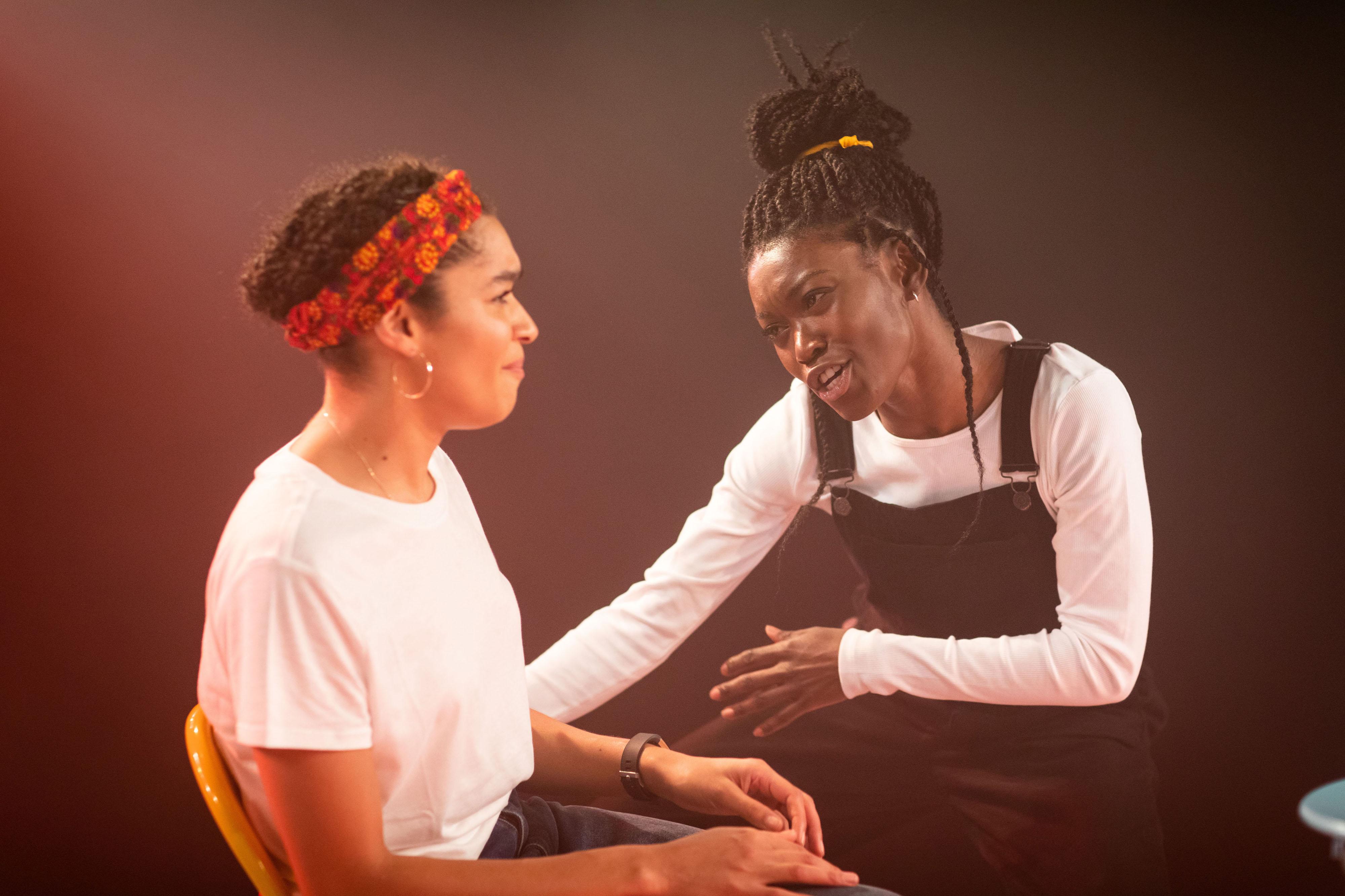 Olivia Onyehara & Tanisha Spring in Shuck 'n' Jive at Soho Theatre. Credit Helen Maybanks