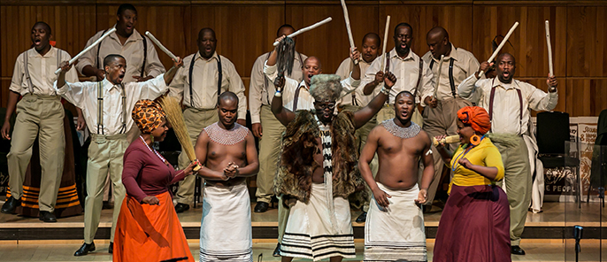 The cast of Mandela Trilogy  at the Royal Festival as part of Southbank Centre's Africa Utopia. Credit Victor Frankowski.