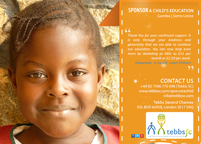 Sponsor a Child with Tebbs SC (front)