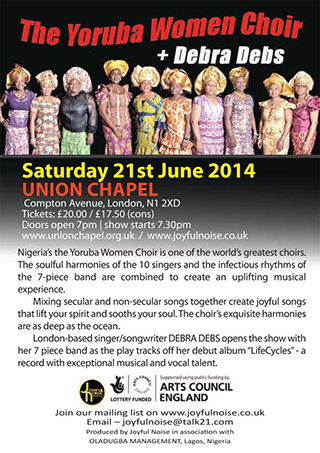 The Yoruba Women Choir Sat 21st June at Union Chapel