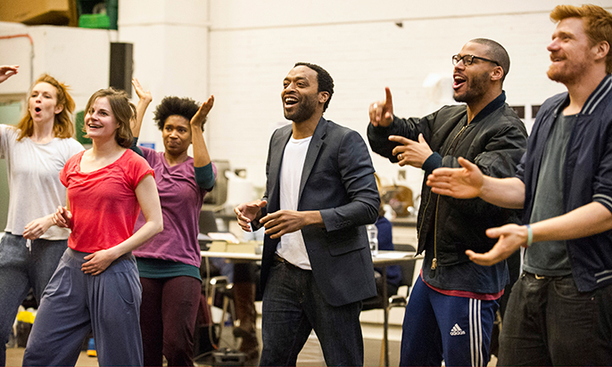 Amy Griffiths,Clemmie Sveaas, Coral Messam, Chiwetel Ejiofor, Ira Mandela Siobhan, and Paul Bullion in rehearsals