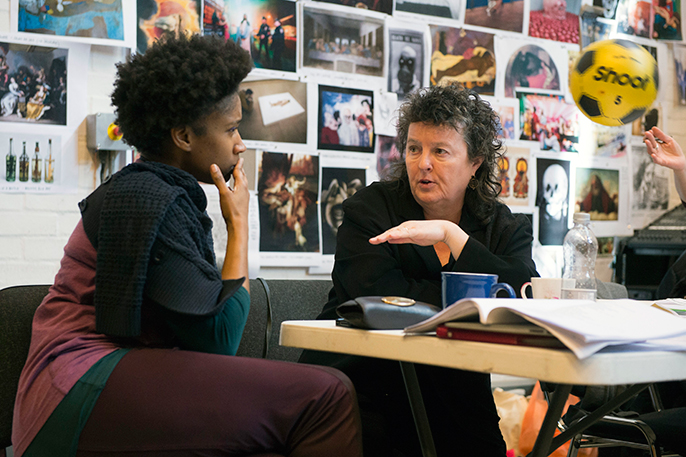 Coral Messam and Carol Ann Duffy taken in rehearsals for Everyman. Image by Richard Hubert Smith