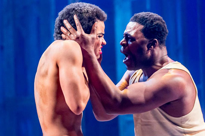 Tunji Kasim as Eric and Danny Sapani as Tshembe Matoseh. Photo by Johan Persson.