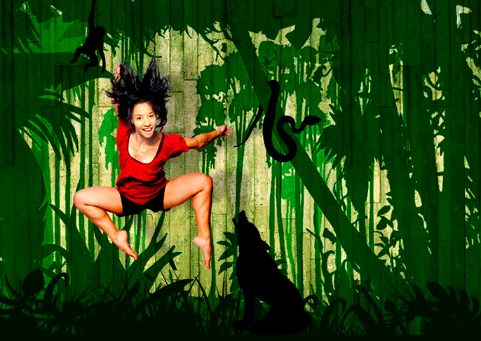 Natalie Nicole James as Mowgli in Metta Theatre's Jungle Book