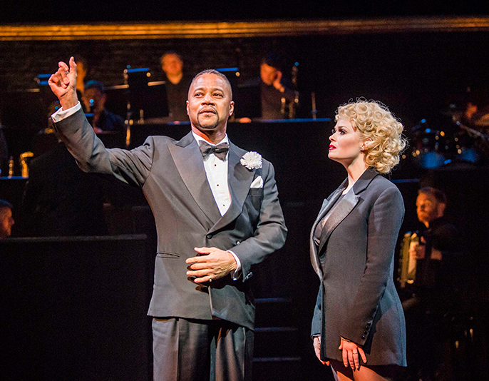 Cuba Gooding Jr (Billy Flynn) and Josefina Gabrielle (Velma Kelly) and the ensemble of CHICAGO.  Credit Tristram Kenton